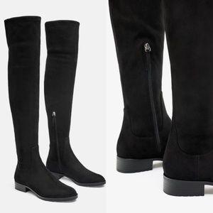 Zara Suede Knee High Boots